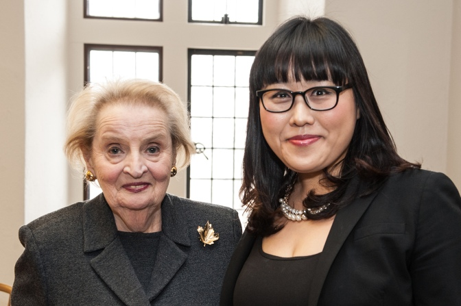 Dr.Madeleine Albright and Ms.Tina Jiwon Park at Trinity College, University of Toronto, April 1, 2014