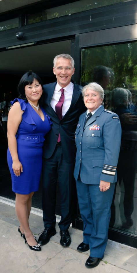 Tina Park with NATO SG Jens Stoltenberg and LGen Chris Whitecross